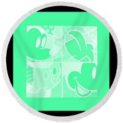 Mickey In Negative Light Green Round Beach Towel