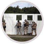Military Reserve Members Prepare Round Beach Towel by Michael Wood