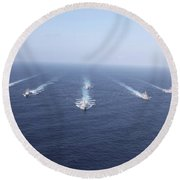 Military Ships Transit The Philippine Round Beach Towel