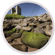 Minard Castle And Rocky Beach Minard Round Beach Towel