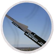 Missile On Display At Alamogordo Space Round Beach Towel