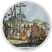 Missionary And Native Americans Round Beach Towel