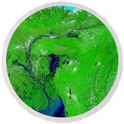 Monsoon Floods Round Beach Towel by NASA / Science Source