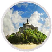 Mont Saint Michel Round Beach Towel