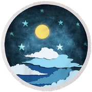 Moon And Stars Round Beach Towel