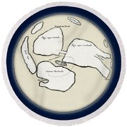 Moon Map By William Gilbert, 1603 Round Beach Towel