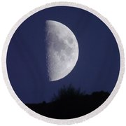 Moon Over The Mountain Side View  Round Beach Towel