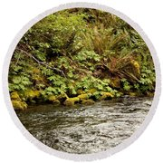 Mossy Riverbank Round Beach Towel