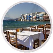 Mykonos Round Beach Towel by Joana Kruse