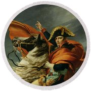 Napoleon Crossing The Alps On 20th May 1800 Round Beach Towel