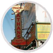 Nathan's Famous At Coney Island  Round Beach Towel