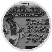 Nathan's Famous In Black And White Round Beach Towel