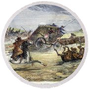 Native American Attack On Coach Round Beach Towel
