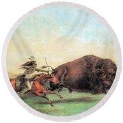 Native American Indian Buffalo Hunting Round Beach Towel