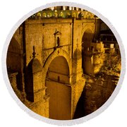 New Bridge In Ronda Round Beach Towel