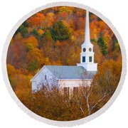 New England Church In Autumn Round Beach Towel