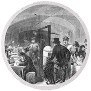 New York: Poverty, 1868 Round Beach Towel