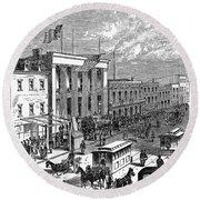 New York: The Bowery, 1871 Round Beach Towel