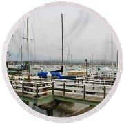 Newport Bay And Balboa Island Round Beach Towel