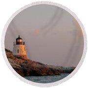 Newport Lighthouse Round Beach Towel
