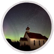 Night Church Northern Lights Round Beach Towel