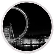 Night Image Of The London Eye And River Thames  Round Beach Towel