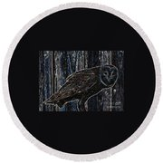 Night Owl - Digital Art Round Beach Towel