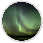 Night Shot Northern Lights Round Beach Towel