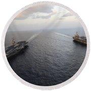 Nimitz-class Aircraft Carriers Transit Round Beach Towel