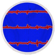 Normal Ecg Round Beach Towel