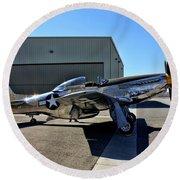 North American P-51 Mustang  Round Beach Towel