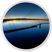 Northern Lake Evening Round Beach Towel