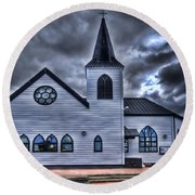 Norwegian Church Cardiff Bay Round Beach Towel