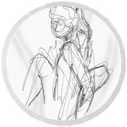 Nude Male Sketches 3 Round Beach Towel