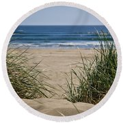 Ocean View With Sand Round Beach Towel