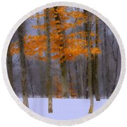 October Flame Round Beach Towel