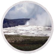 Old Faithful Round Beach Towel