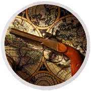 Old Gun On Old Map Round Beach Towel