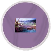 Old Homested Round Beach Towel