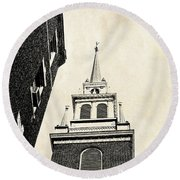 Old North Church In Boston Round Beach Towel by Elena Elisseeva