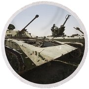 Old Russian Bmp-1 Infantry Fighting Round Beach Towel