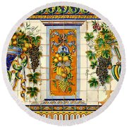 Old Spanish Tiles Round Beach Towel