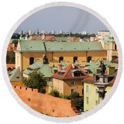 Old Town In Warsaw Round Beach Towel