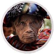 Old Woman Of Chichicastenango Round Beach Towel