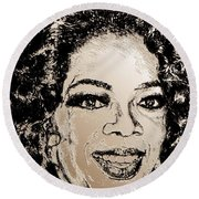 Oprah Winfrey In 2007 Round Beach Towel