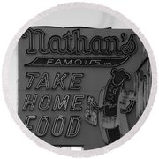 Original Nathan's In Black And White Round Beach Towel