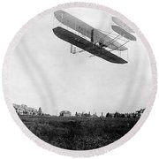 Orville Wright In Wright Flyer, 1908 Round Beach Towel