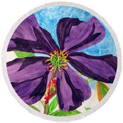 Our Very Bold Tibouchina Round Beach Towel