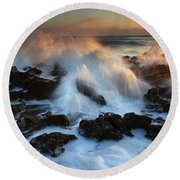 Over The Rocks Round Beach Towel by Mike  Dawson