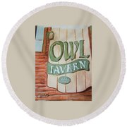 Owl Tavern Round Beach Towel